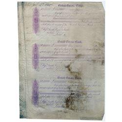 British Guiana Bank 1848 Uncut Sheet of 3 Proof Bills of Exchanges