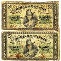 Dominion of Canada Pair of Issued Notes, 1870