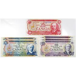 Bank of Canada Group of Issued Banknotes, 1971-1975