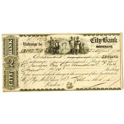 City Bank, Montreal, 1870 I/C Second Bill of Exchange.