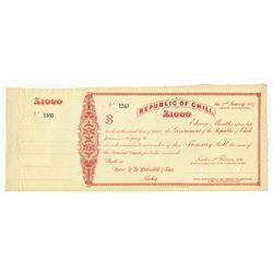 Republic of Chili, 1896 Specimen Treasury Bill.