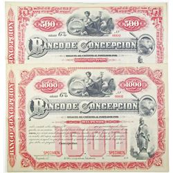 Banco Concepcion, 1880 to 1890 Specimen Bond Pair