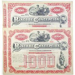 Banco Concepcion, 1880 to 1890 Specimen Bond Pair