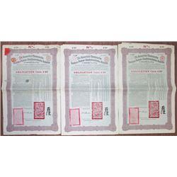 China. Kaiserlich Chinesische Tientsin-Pukow, S.A. 1908, £20, I/U Bond Trio