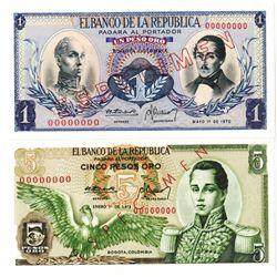 Banco de la Republica. 1970-1973. Lot of 2 Specimen Notes.