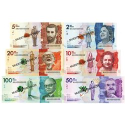 Banco de la Republica Colombia. 2014-2015 (2016). Lot of 6 Specimen Notes.