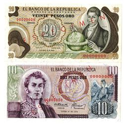 Banco de la Republica. 1966-1973. Lot of 2 Specimen Notes.