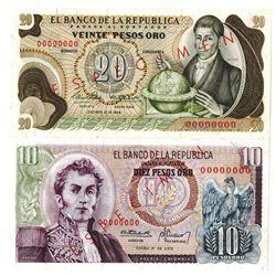Banco de la Republica. 1966-1973. Lot of 2 Specimen Notes.