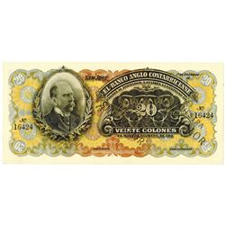 Banco Anglo Costarricense. 19__ (1909-1917). Specimen Note.
