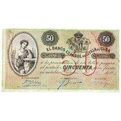 El Banco Espanol de la Isla de Cuba, 1896 Issued Note