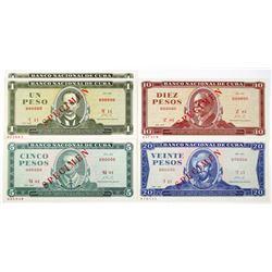 National Bank of Cuba 1964-1972 Run of Specimen Notes