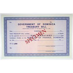 Government of Dominica, Treasury Bill, ND (ca. 1960s) ($1000) Specimen Treasury Note.