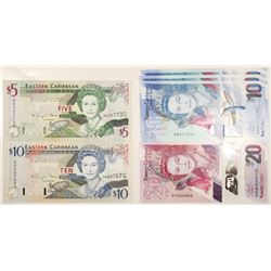 Eastern Caribbean Bank, Group of Issued Banknotes, ca.1990's
