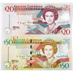 Eastern Caribbean Bank Pair of Issued Banknotes, 2012