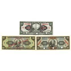 Banco Central del Ecuador. 1971-1980. Lot of 3 Specimen Notes.