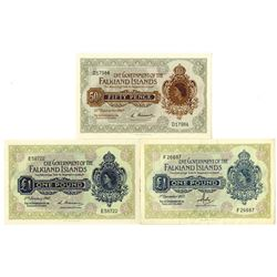 Government of the Falkland Islands, 1967-1977, Trio of Issued Notes