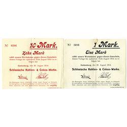 Germany, Emergency Scrip, Schlesische Kohlen- & Cokes-Werke. 1914. Lot of 2 Issued Notes.