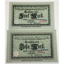 Germany. Stadtgemeinde Augsburg 1918 Issued Notgeld Note.