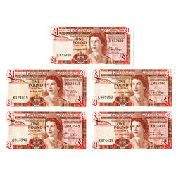 Government of Gibraltar Group of 1 Pound Issued Banknotes, 1975-1988