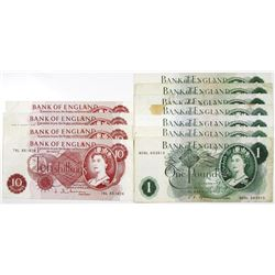 Bank of England, Lot of Issued Banknotes, 1960-1978