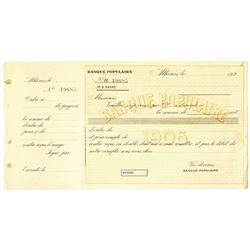 Banque Populaire, 1920's, Unissued Check or Money Order.