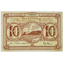 Greenland 10 Kroner State Issued Note, 1953-1967