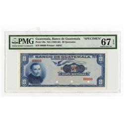 Banco De Guatemala, ND (1963-65) Specimen Banknote, Finest Known in the PMG Census.