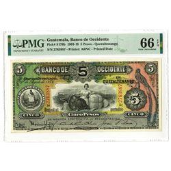Banco de Occidente en Quetzaltenango, 1916 Second Highest Graded out of 34 in the PMG Census.