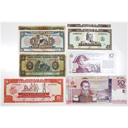 Republic of Haiti Large Group of Issued Banknotes, 1992-2004