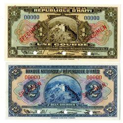 Banque Nationale de la Republique d'Haiti. L.1919 (1951-1964). Pair of Specimen Notes.