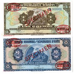 Banque Nationale de la Republique d'Haiti. L.1919 (1967). Pair of Specimen Notes.