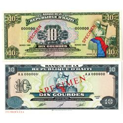 Banque de la Republique d'Haiti. 1988-1991. Lot of 2 Specimen Notes.
