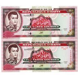 Banque de la Republique d'Haiti. 2003. Lot of 2 Specimen Notes.
