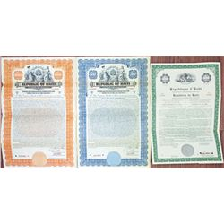 Republic of Haiti, Customs and General Revenues, 1923 Specimen Bond Pair & 1957 Exterior Obligation