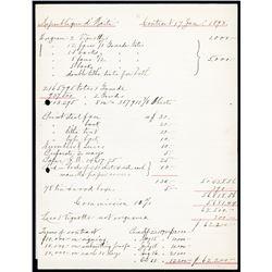 "Republique D'Haiti, 1892 Treasury Issue, ABN Order ""Contract"" For Haiti Banknotes."