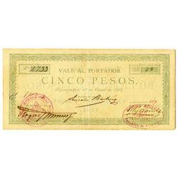 Vale al Portador, Billete del Tesoro, 1889 Issue Banknote.