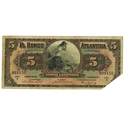 Banco Atlantida, 1932 Issue Banknote.