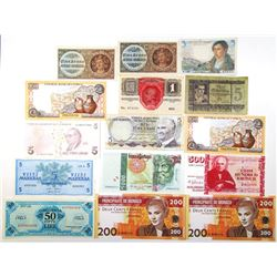 Group of 15 Issued Banknotes, 1940s-2010s