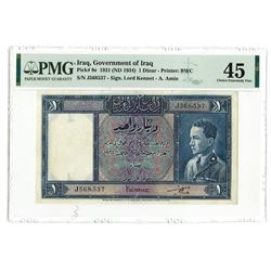 Government of Iraq, Law #44 of 1931 (ND 1934 Issue) 1 Dinar Banknote.