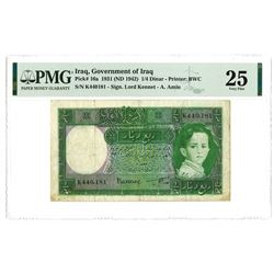 Government of Iraq, Law #44 of 1931 (ND 1942 Issue) 1/4 Dinar Banknote.