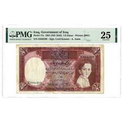 Government of Iraq, Law #44 of 1931 (ND 1942 Issue) 1/2 Dinar Banknote.