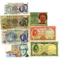 Group of 7 Irish Bank Notes, 1963-1980s