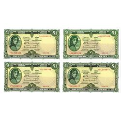 Central Bank of Ireland, 1976, Quartet of Issued Banknotes
