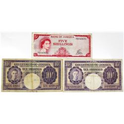 British Administration Bank of Jamaica Trio of Issued Notes, 1950-1961