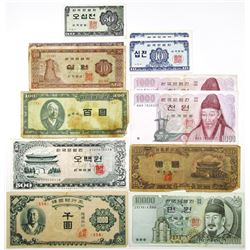 Bank of Korea Large Group of Issued Banknotes
