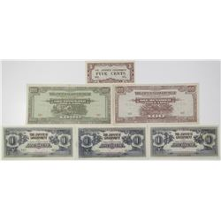 Japanese Government. ND (1942-1945). Lot of 6 Issued Notes.