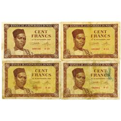 Banque De La Republique Du Mali, 1960 Issued Banknote Quartet