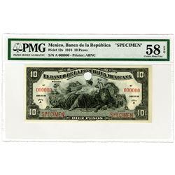 Banco de la Republica Mexicana. 1918. Specimen Banknote.