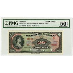 Banco de Mexico. 1961 Specimen Banknote.