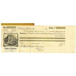 Banco Minero, 190x Production Proof Bill of Exchange